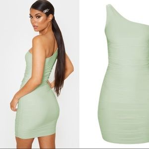 Sage green one shoulder ruched bodycon mini dress